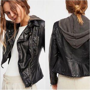 Free People Vegan Faux Leather Hooded Jacket 10